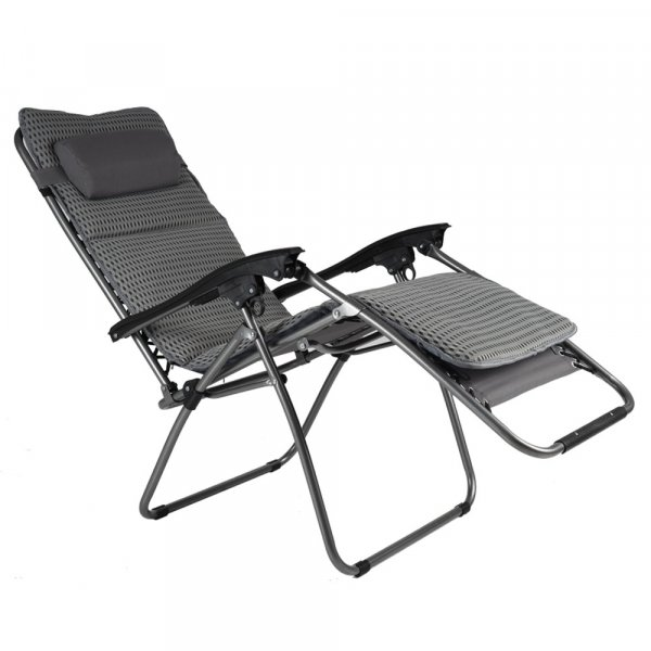 EQUAL Portable Zero Gravity Recliner Chair w/Cushion Pad, Silver Sand