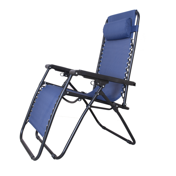 EQUAL Adjustable Steel Zero Gravity Lounge Chair Recliners for Patio, Pool, Living Room - Navy Blue