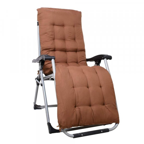 EQUAL Portable Zero Gravity Recliner Chair with Cushion Pad, Coffee Brown