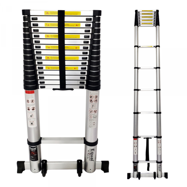 EQUAL 21.3 Ft Portable & Extension Aluminium Telescopic Ladder for Home & Industrial Use With Wheels & Support Bar; 15 Steps (6.5 Meter/EN131 Certified)