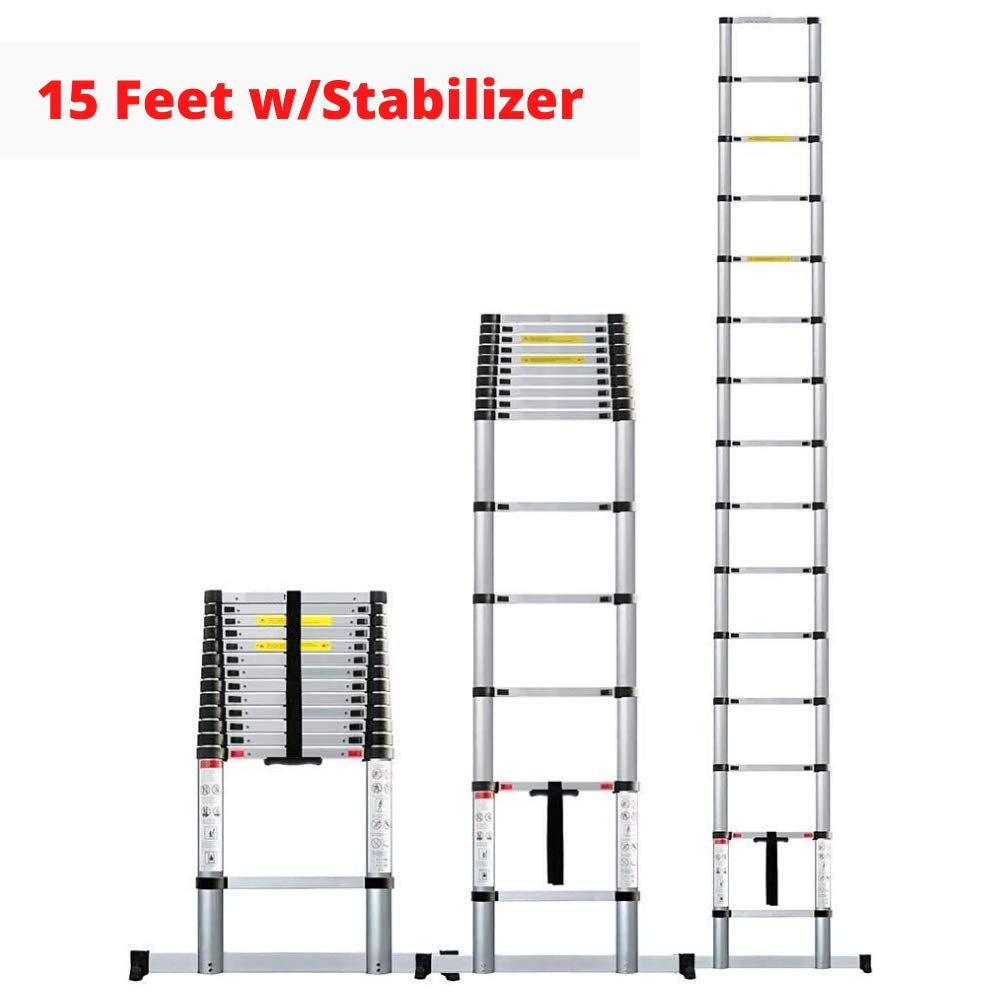 EQUAL 15.0 Ft Folding Extensionable Telescopic Aluminium Ladder With Stablizer (4.4 Meter/EN131 Certified)