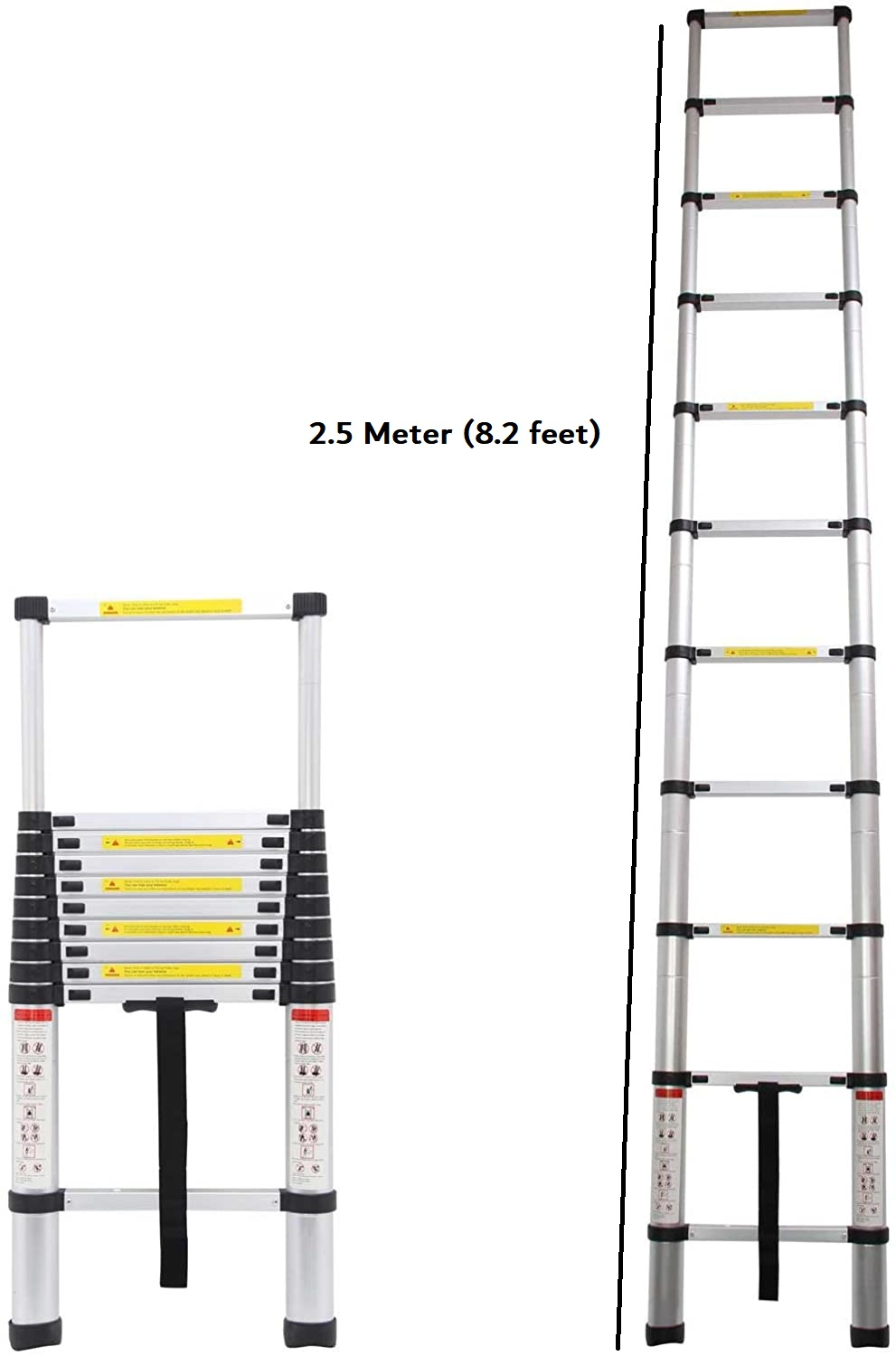 EQUAL Portable Foldable and Extension Aluminum Telescopic Ladder - 8 ft , 6 Steps