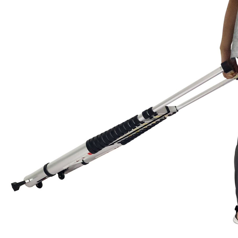 EQUAL 21.3 FEET Folding & Extension Aluminium Telescopic Ladder; with Wheels & Stabiliser Bar