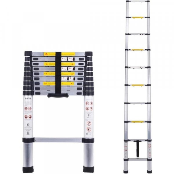 EQUAL 9.5 Ft Portable & Extension Aluminium Telescopic Ladder for Home & Industrial Use; 8 Steps (2.9 Meter/EN131 Certified)