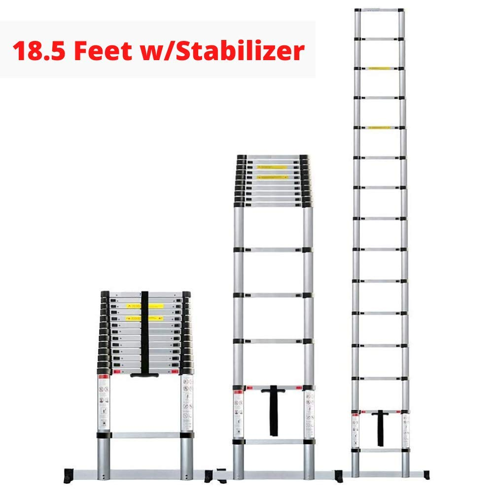 EQUAL 18.5 Ft Folding Extensionable Telescopic Aluminium Ladder With Stablizer (5.5 Meter/EN131 Certified)