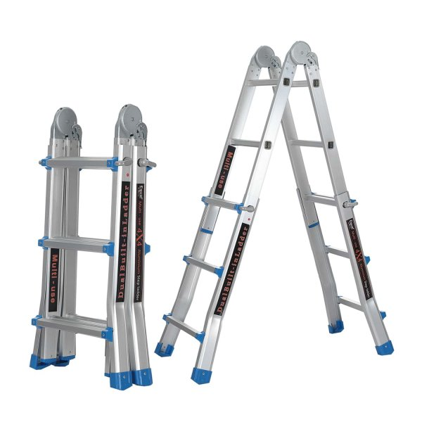 EQUAL Dual Built 12 Feet Aluminium Portable & Multipurpose Folding Ladder for Home & Industrial Use; 4 x 3 Steps