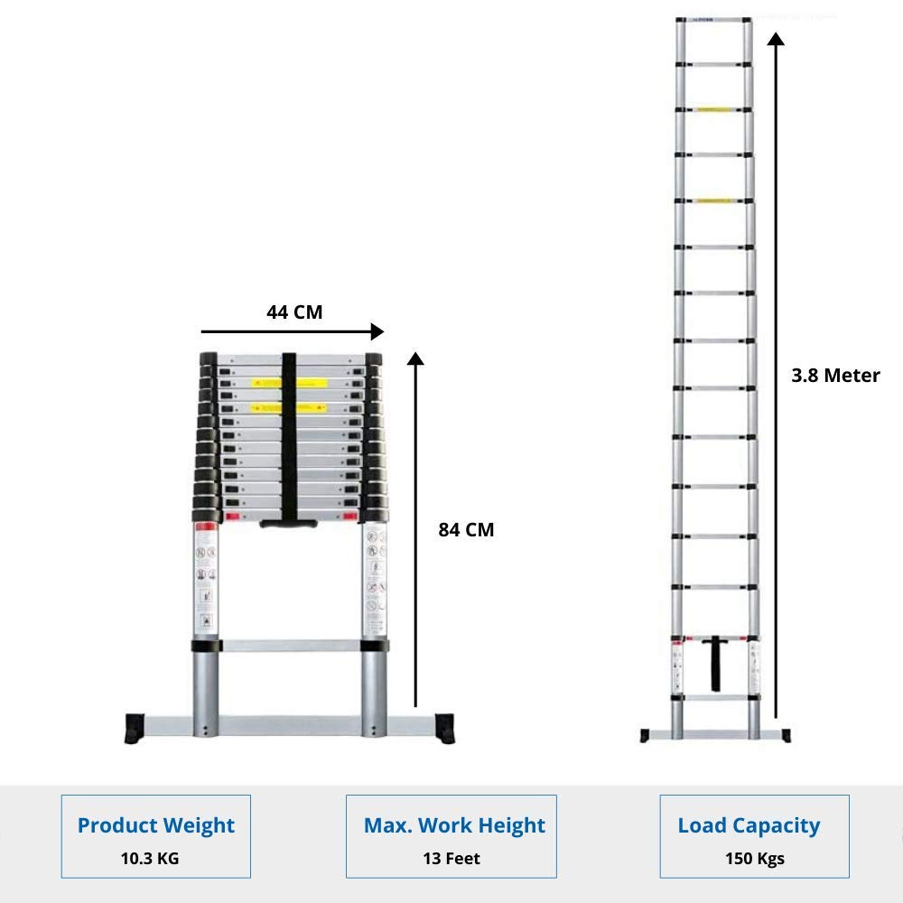 EQUAL 12.5 Ft Folding Extensionable Telescopic Aluminium Ladder With Stablizer (3.8 Meter/EN131 Certified)