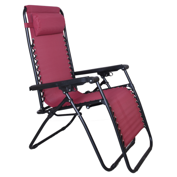 EQUAL Adjustable Steel Zero Gravity Lounge Chair Recliners for Patio, Pool - Red Wine