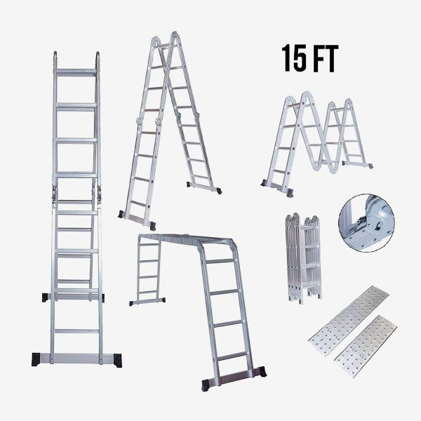 EQUAL Foldable Multipurpose Aluminium Super Ladder for Home and Industrial Purpose With With 2 Scaffolding Platform & Shelf  (15 Feet)