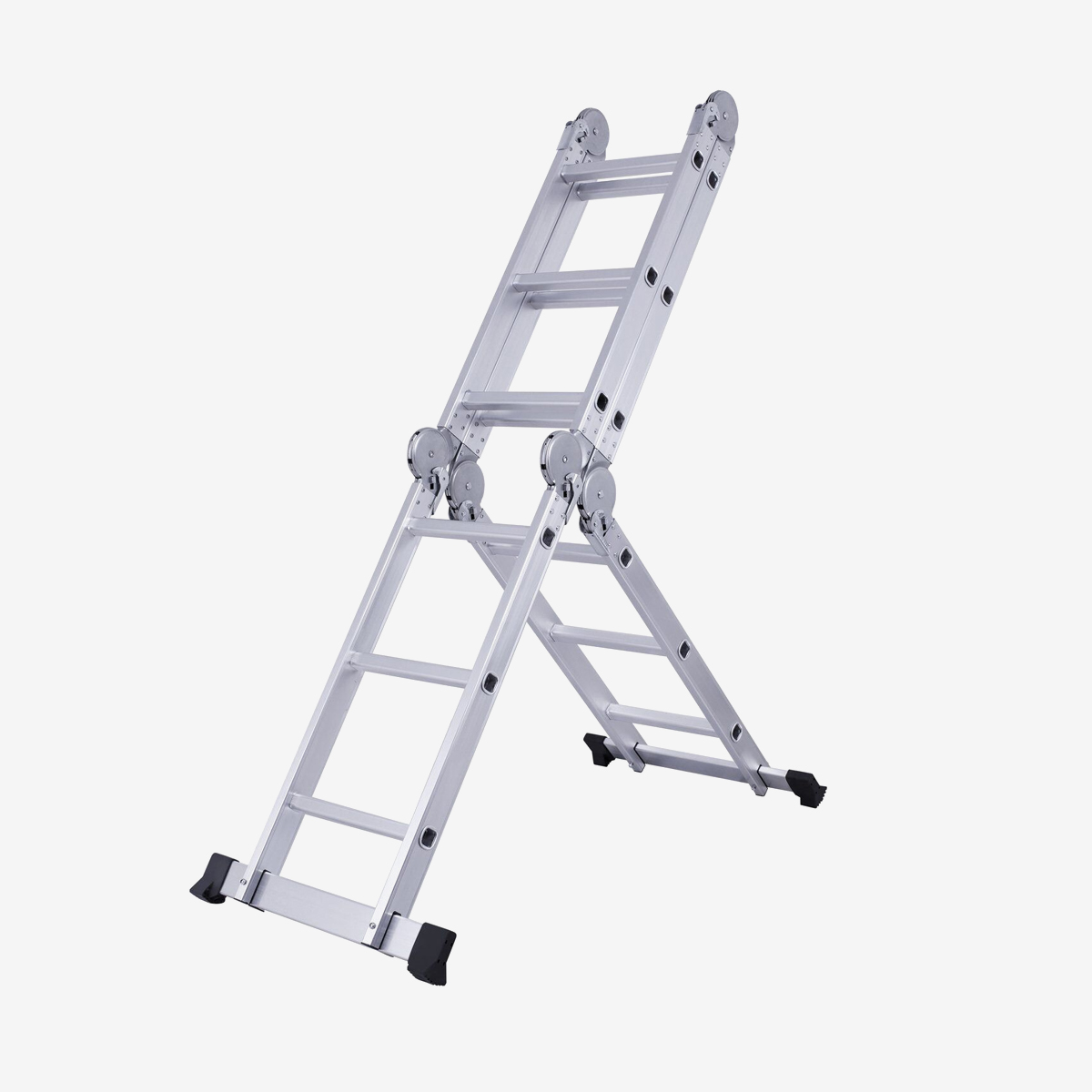 EQUAL Foldable Multipurpose Aluminium Super Ladder for Home and Industrial Purpose With With 2 Scaffolding Platform & Shelf  (12 Feet)