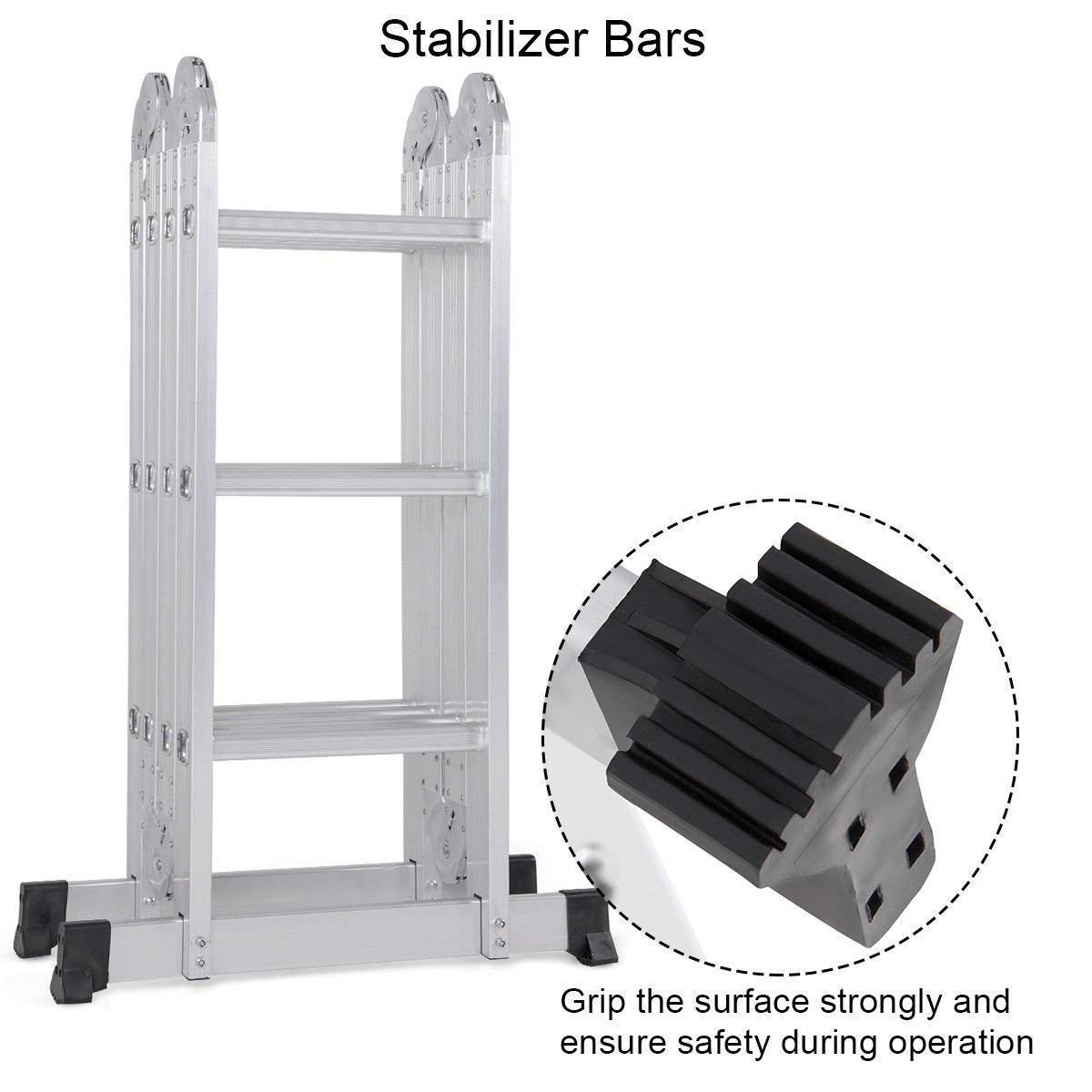 Foldable And Adjustable Multipurpose Aluminium Super Ladder for Home and Industrial purpose, 12 Feet