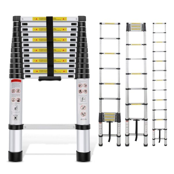EQUAL 17 Ft Portable & Extension Aluminium Telescopic Ladder for Home & Industrial Use; 13 Steps (5.1 Meter/EN131 Certified)