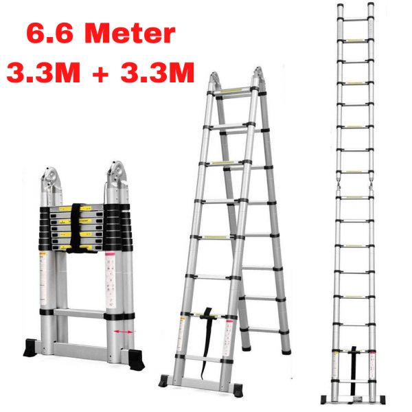 EQUAL Portable and Extension 22 ft Double Telescopic Folding Aluminium Ladder; for Household and Outdoor; 3.3+3.3 m; Anodized Silver