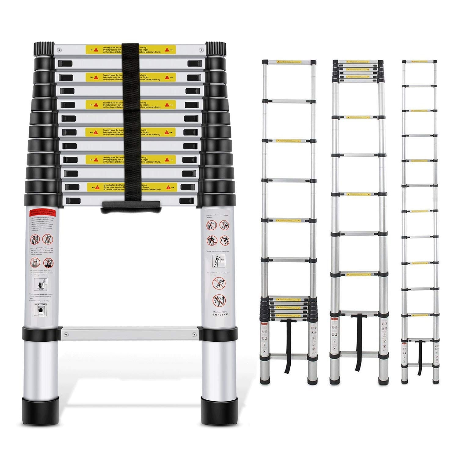 EQUAL 18 Ft Portable & Extension Aluminium Telescopic Ladder for Home & Industrial Use; 14 Steps (5.5 Meter/EN131 Certified)