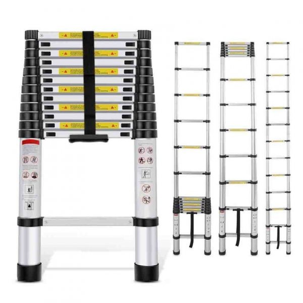 Portable and Compact 7-Steps Telescopic Foldable Aluminium Ladder for Household and Outdoor Purpose, 7 Feet