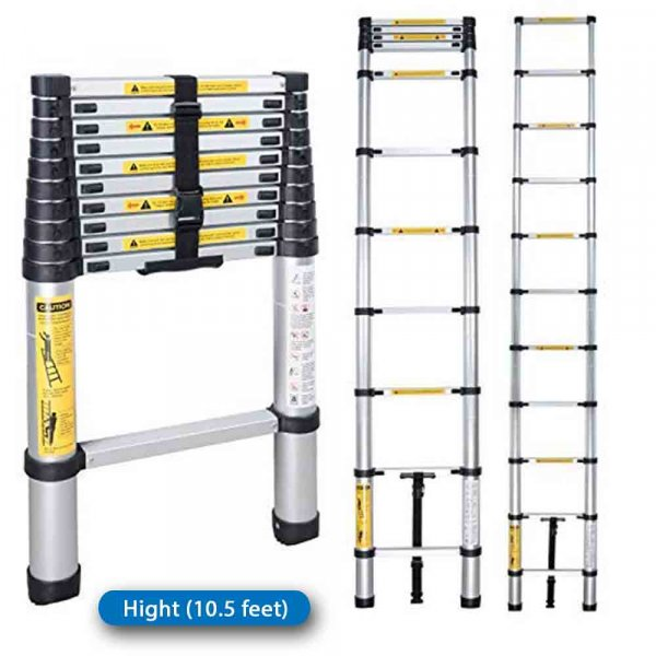 Portable and Compact 11-Steps Telescopic Foldable Aluminium Ladder for Household and Outdoor Purpose, 10.5 Feet