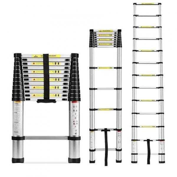 EQUAL 12.5 Ft Portable & Extension Aluminium Telescopic Ladder for Home & Industrial Use; 12 Steps (3.8 Meter/EN131 Certified)