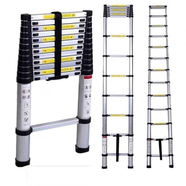 EQUAL 15 Ft Portable & Extension Aluminium Telescopic Ladder for Home & Industrial Use; 15 Steps (4.4 Meter/EN131 Certified)