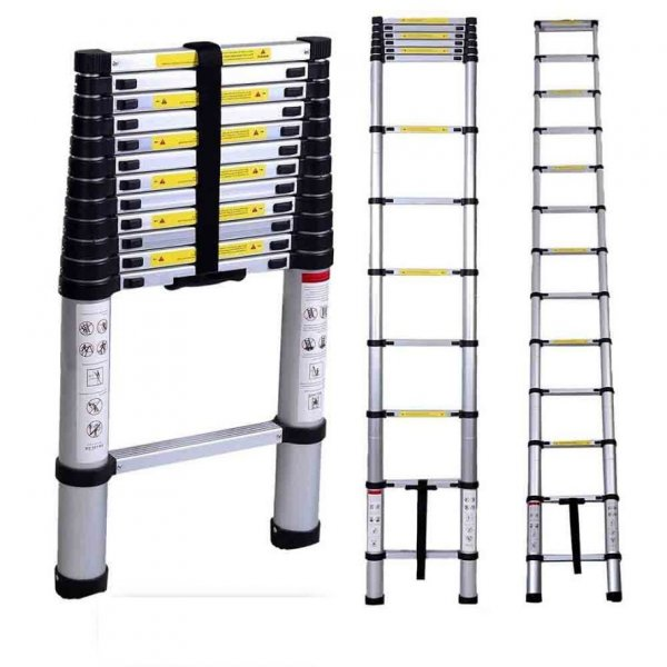 Portable and Compact 15-Steps Telescopic Foldable Aluminium Ladder for Household and Outdoor Purpose, 14.8 Feet