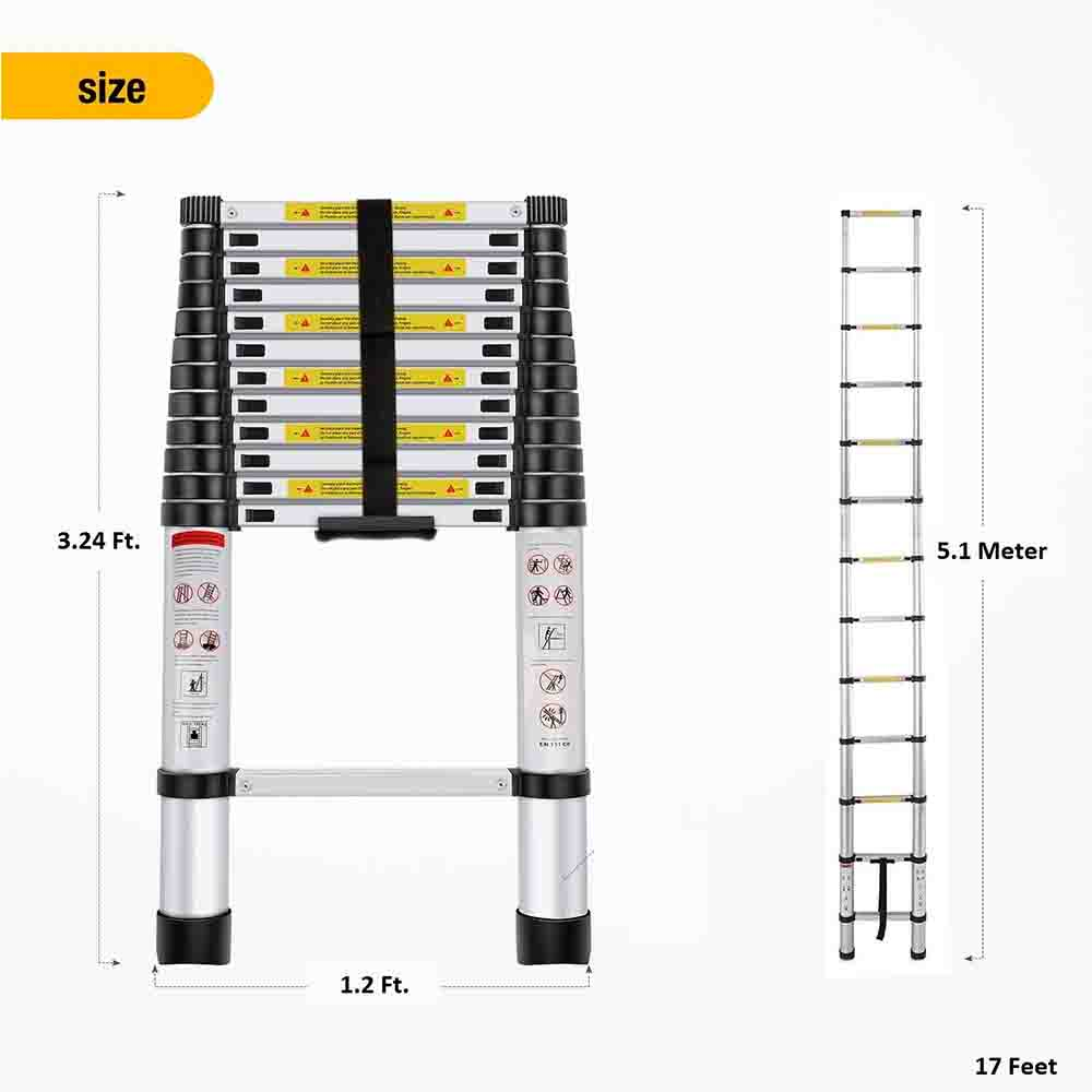 EQUAL Portable and Compact 17 Feet Telescopic Foldable Aluminium Ladder for Household and Outdoor Purpose (5.1 Meter/17 ft)
