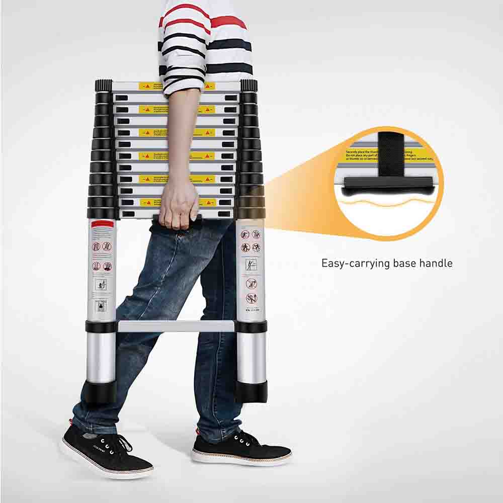 EQUAL 19.5 FEET Folding & Extension Aluminium Telescopic Ladder; Portable Foldable Ladder
