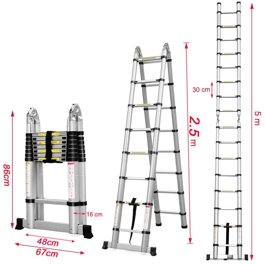 EQUAL Portable and Extension 16.5 ft Double Telescopic Folding Aluminium Ladder; for Household and Outdoor; 2.5+2.5 m; Anodized Silver