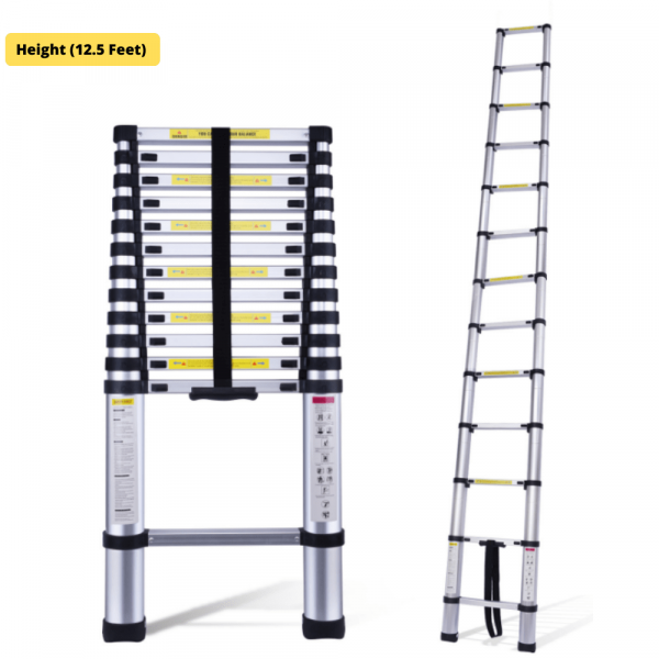 EQUAL 12.5 Feet Telescopic Aluminium Folding Portable Ladder; 13 Steps (Finger Protect)