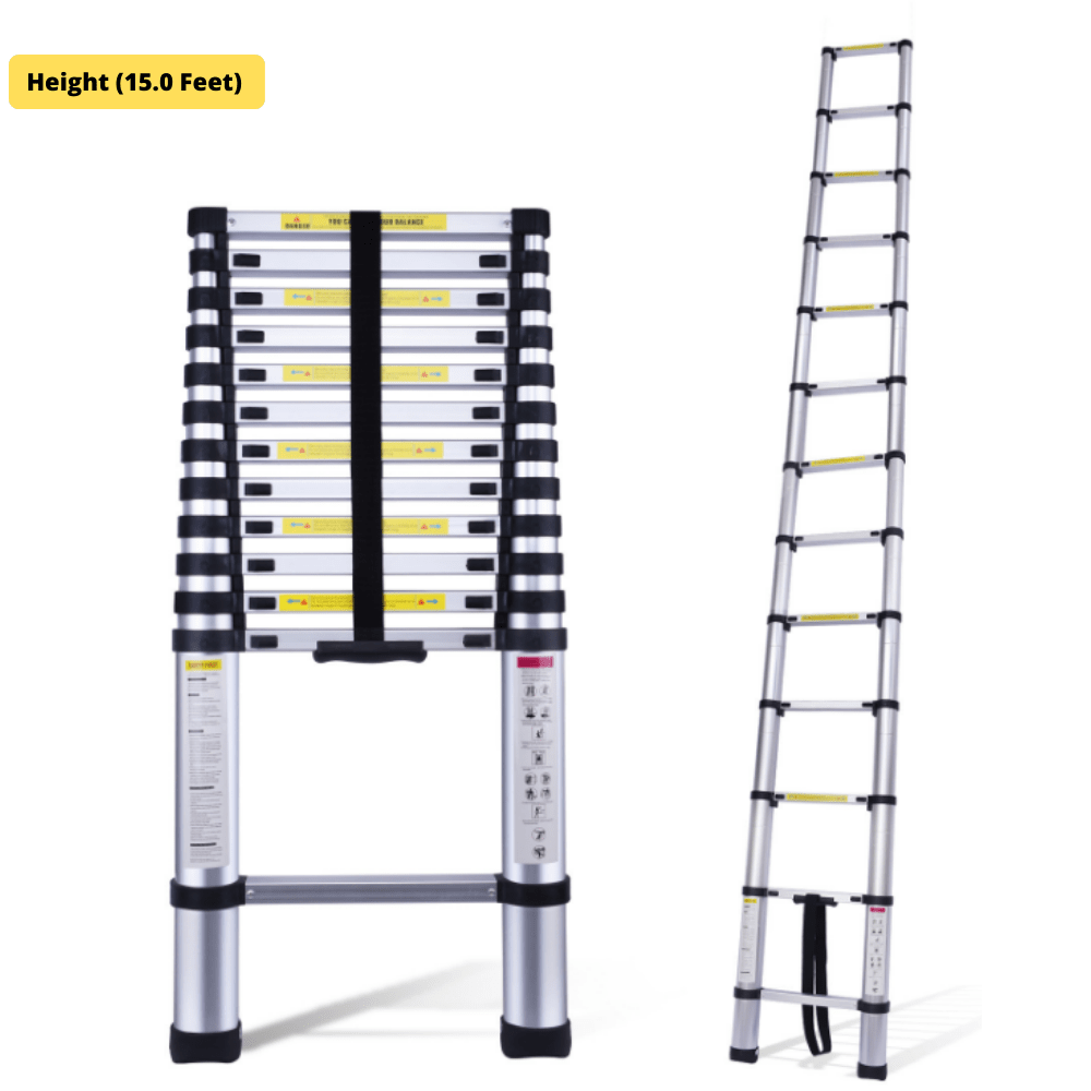 EQUAL 15 Feet Telescopic Aluminium Folding Portable Ladder; 14 Steps (Finger Protect)
