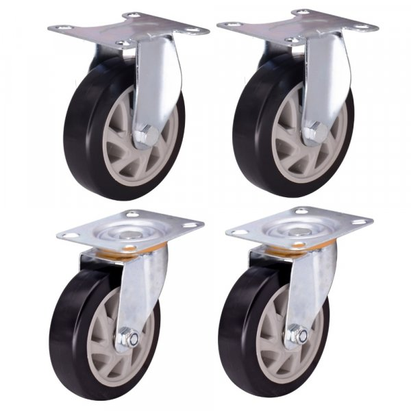 EQUAL 4 Inch Fixed Swivel Caster Wheels Heavy Duty 500kg Capacity, Pack Of 4, 2 Fix 2 Swivel