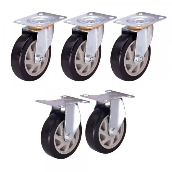 EQUAL 5 Inch Fixed Swivel Caster Wheels Heavy Duty 800kg Capacity, Pack Of 5, 2 Fix 3 Swivel