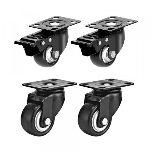 EQUAL 2.5 Inch Brake Swivel Caster Wheels Heavy Duty 200kg Capacity, Pack Of 4, 2 Brake 2 Swivel