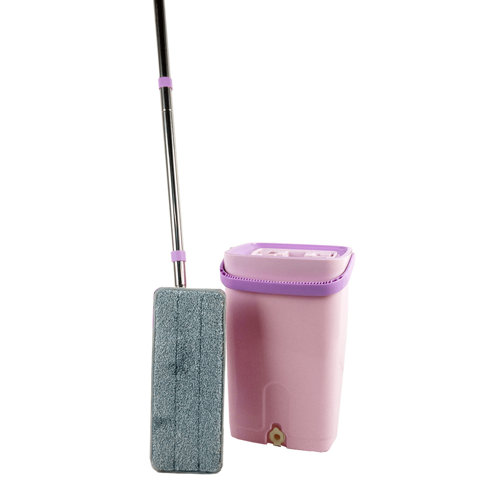 EQUAL Mop and Bucket System with Washable Microfiber Mop Pads for Home Bathroom Windows/Kitchen/Office Corner Floor Cleaning (Light Violet)