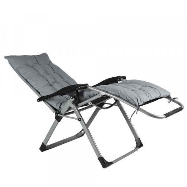 EQUAL Portable Zero Gravity Recliner Easy Chair with Cushion Pad, Smoke Grey