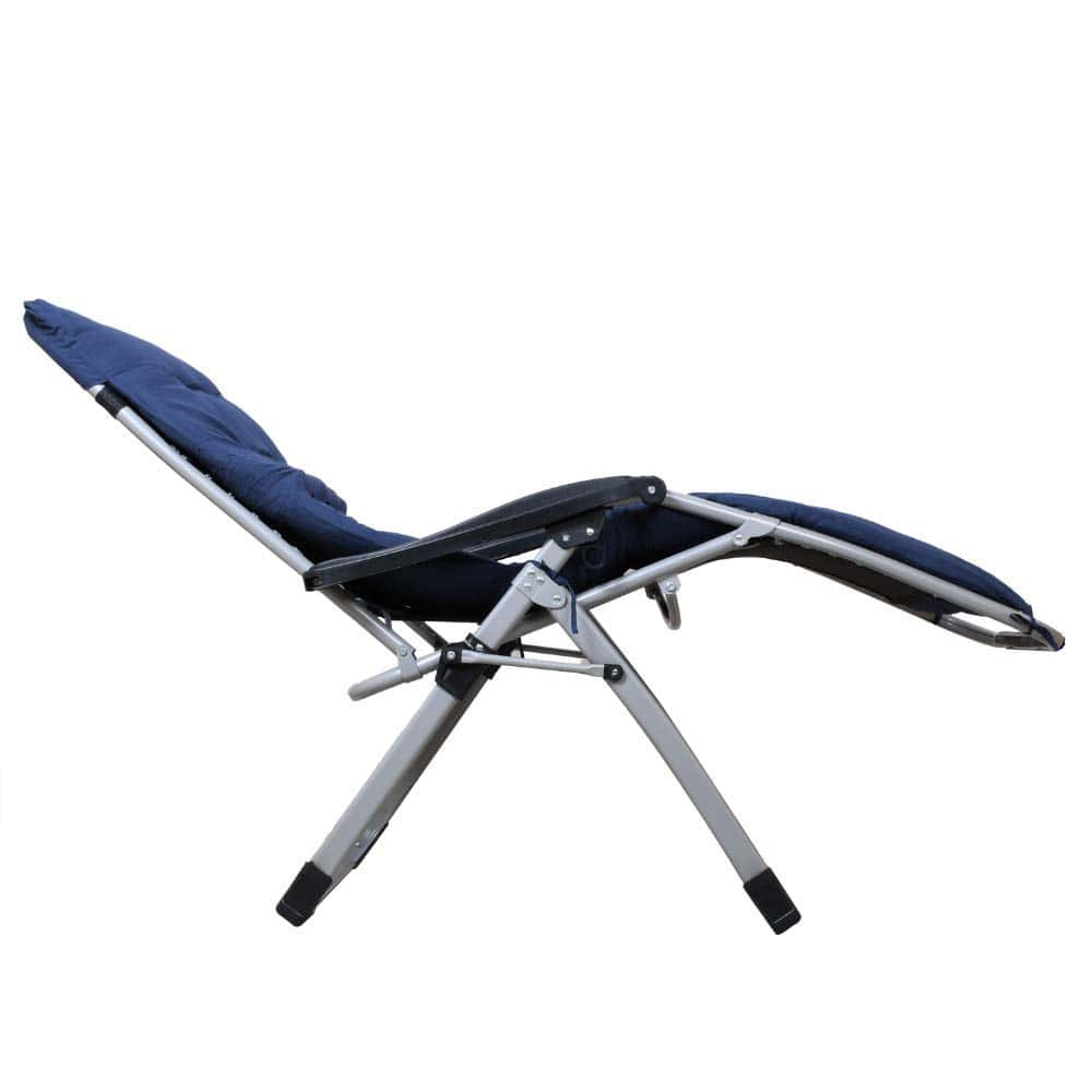 EQUAL Portable Zero Gravity Recliner Easy Chair with Cushion Pad, Navy Blue