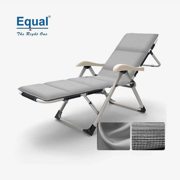 Portable Adjustable Steel Recliner Chair/Bed with Cushion for Beach, Camping, Outdoor & Picnic, (Color Gray)