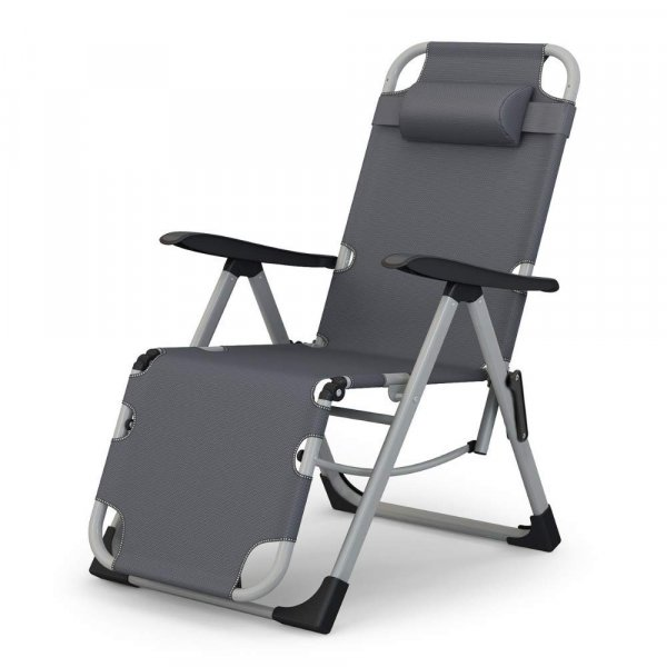 Portable Adjustable Steel Recliner Chair for Beach, Camping, Outdoor & Picnic, (Color Gray)