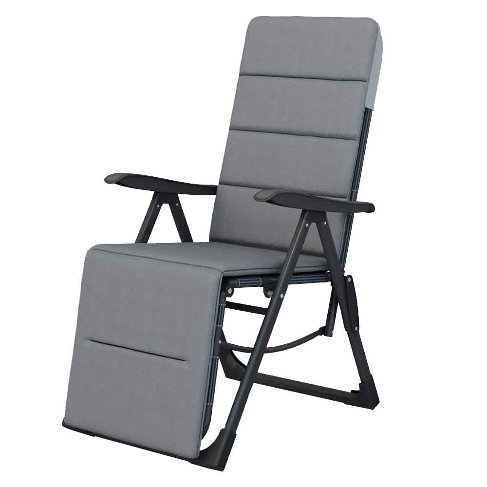 Portable Adjustable Steel Recliner Chair with Cushion for Beach, Camping, Outdoor & Picnic, (Color Gray)