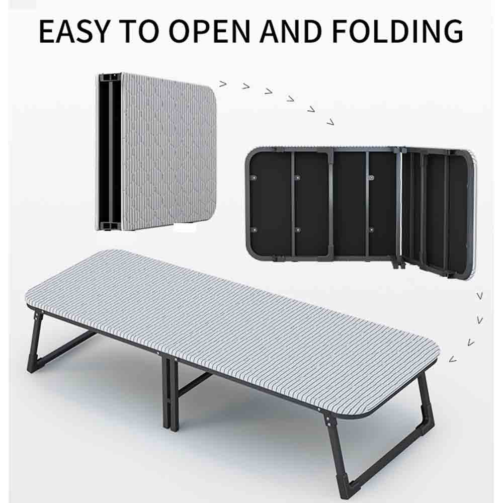 EQUAL Foldaway Single Folding Steel Bed, Extra-Thick Fabric Cover, 250Kg Capacity