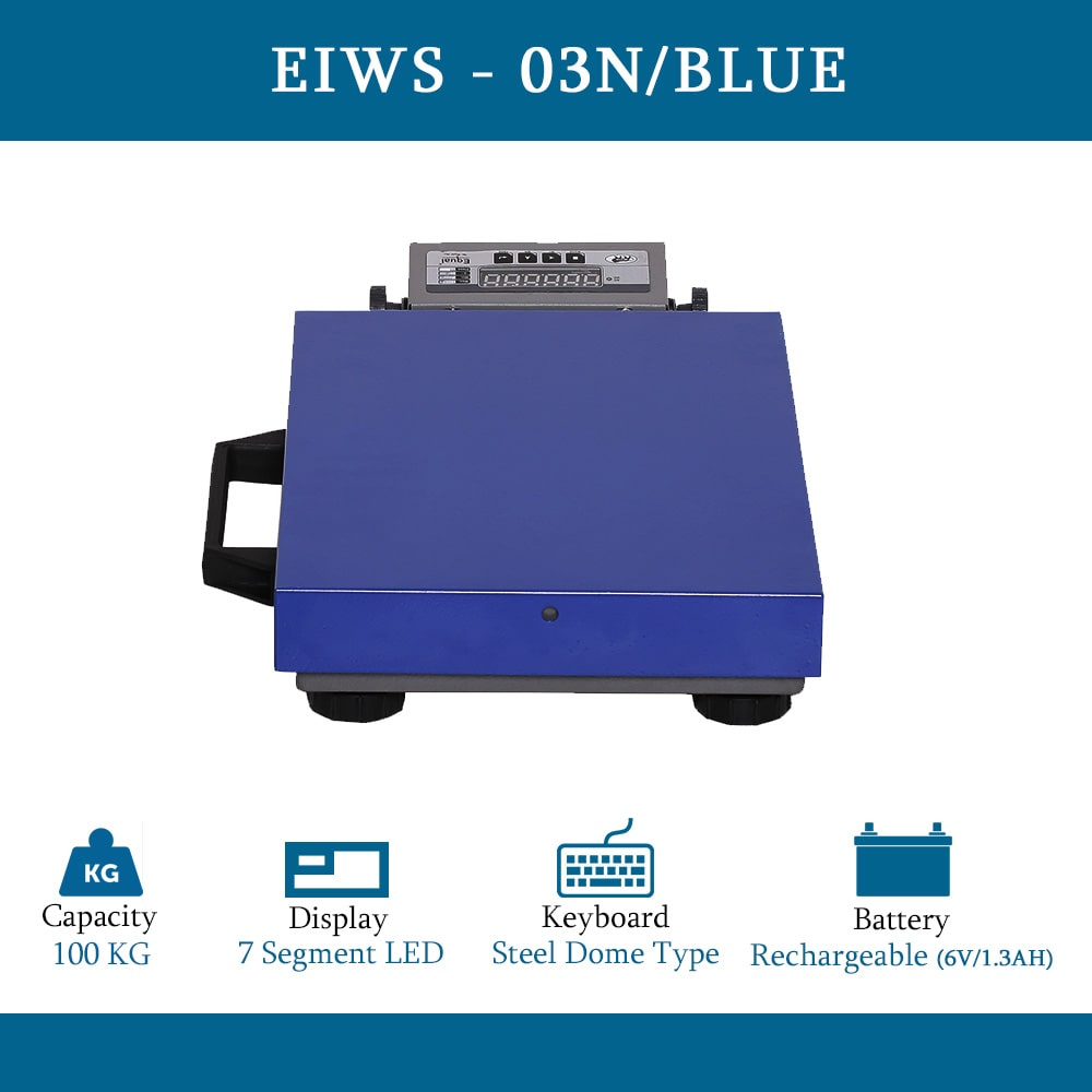 EQUAL Heavy Duty Digital Weighing Scale For Home, Shop & Industries, 100Kgs, Blue