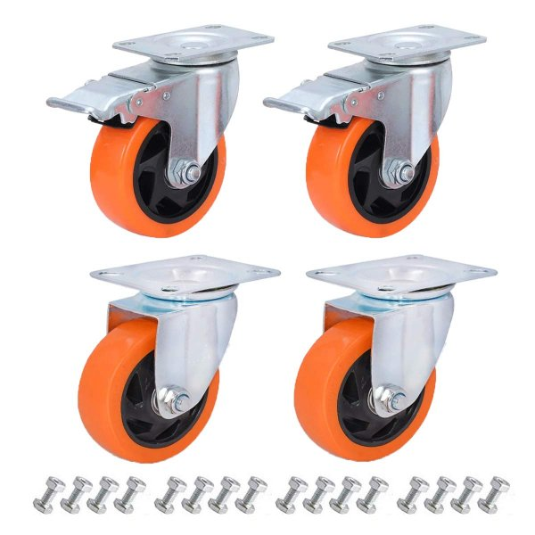 EQUAL 4 Inch Brake Swivel Caster Wheels Heavy Duty 500kg Capacity, Pack Of 4, 2 Brake 2 Swivel
