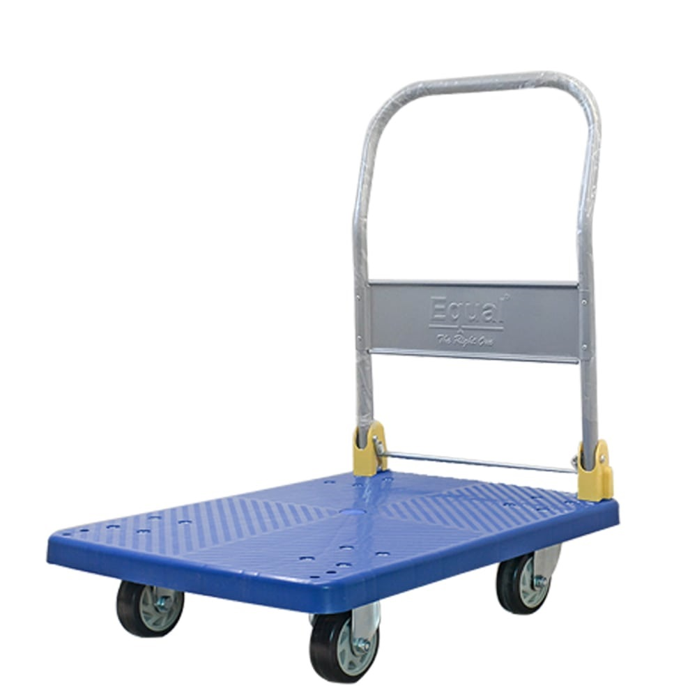 EQUAL Foldable Platform Trolley for Lifting Heavy Weight, 150 Kg Capacity, Blue Colour, 4 Inch wheel