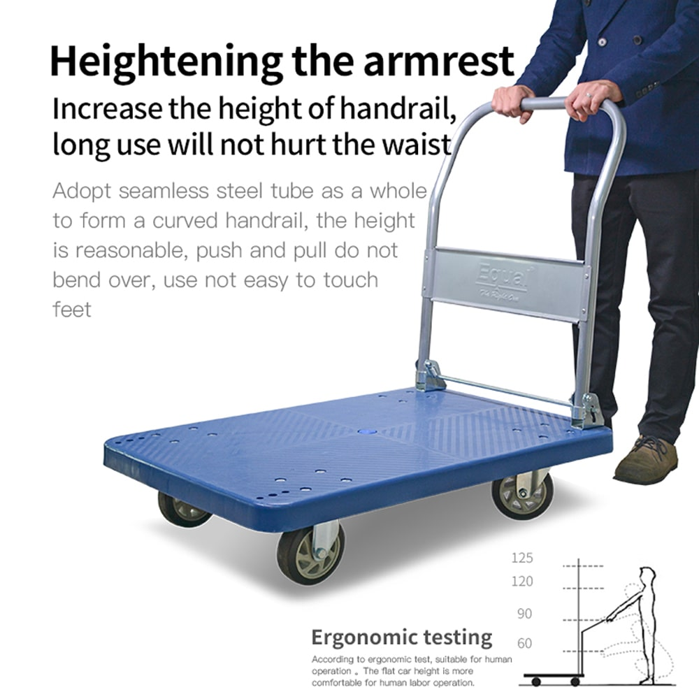 EQUAL Foldable Platform Trolley for Lifting Heavy Weight, 300 Kg Capacity, Blue Colour, 5 Inch wheel