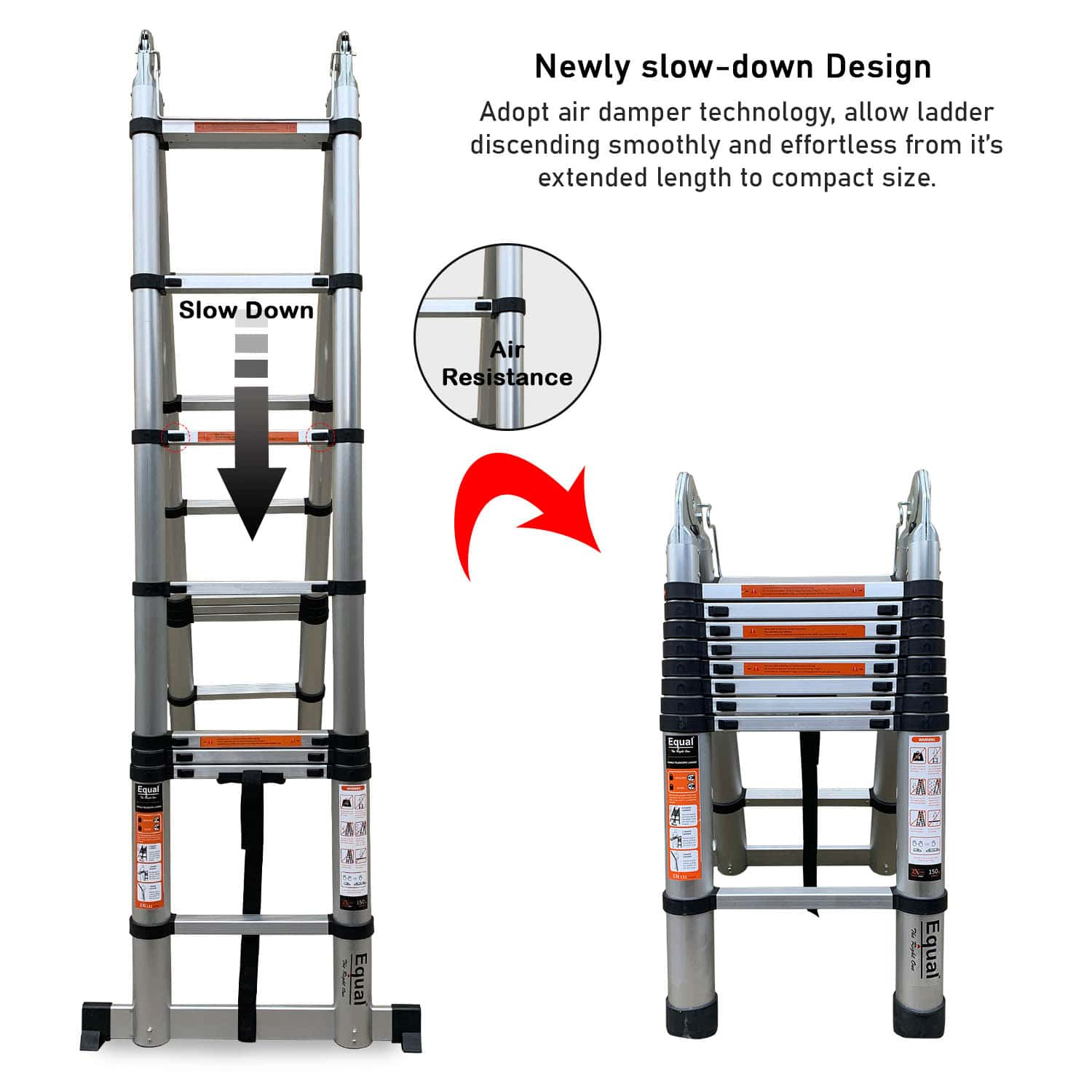 EQUAL Portable and Extension 19 ft Double Telescopic Folding Aluminium Ladder; for Household and Outdoor; 2.8+2.8 m; Anodized Silver