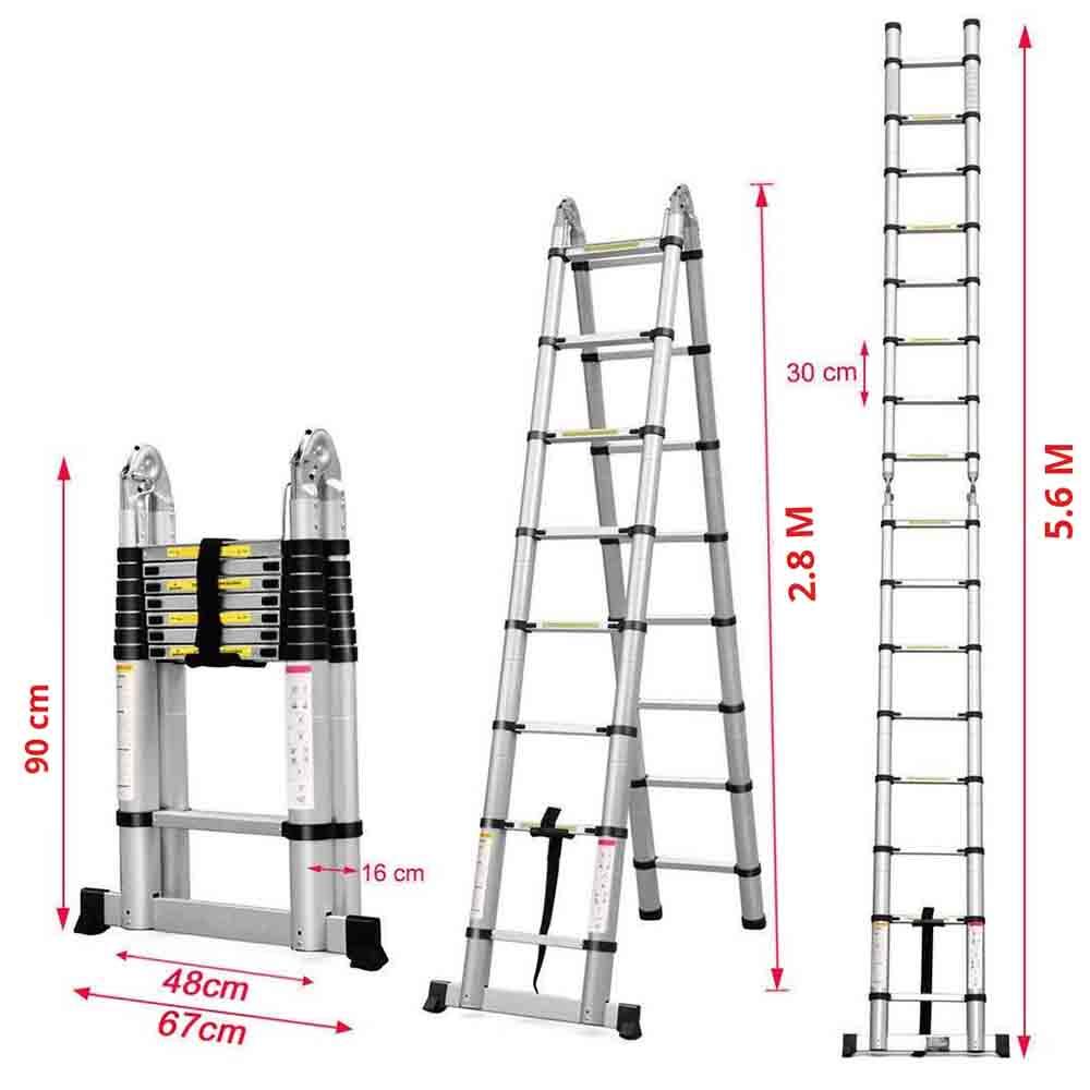 Equal Portable Folding Aluminium Telescopic Ladder 20 Ft Buy Online
